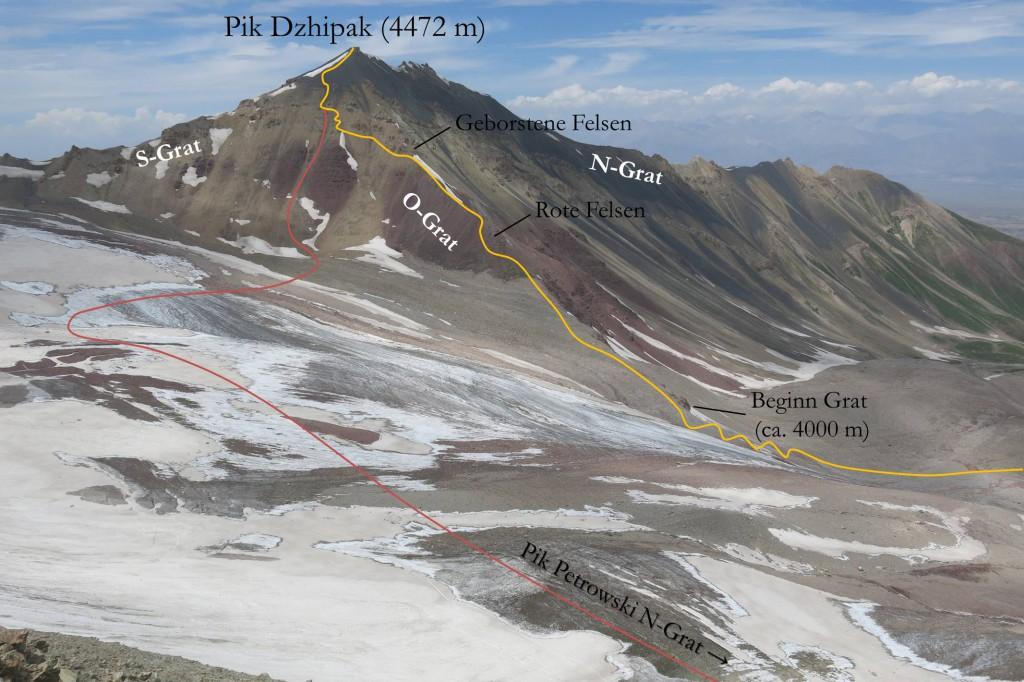 Abstieg Pik Dzhipak
