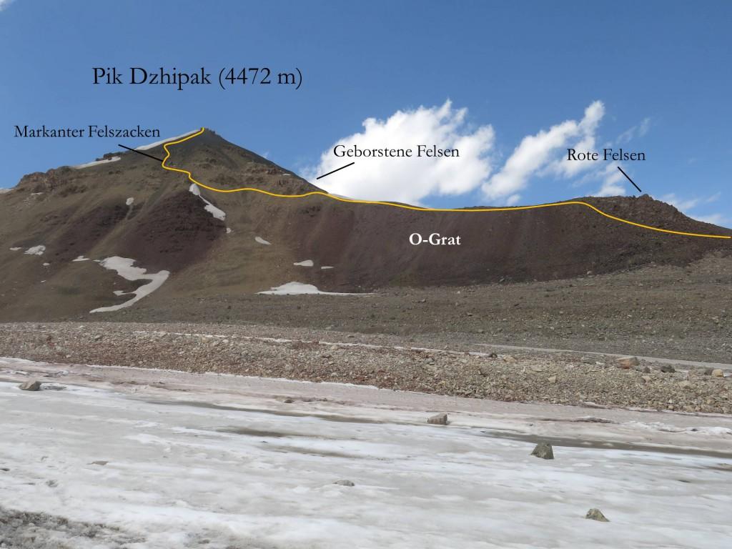 Aufstiegsroute Pik Dzhipak