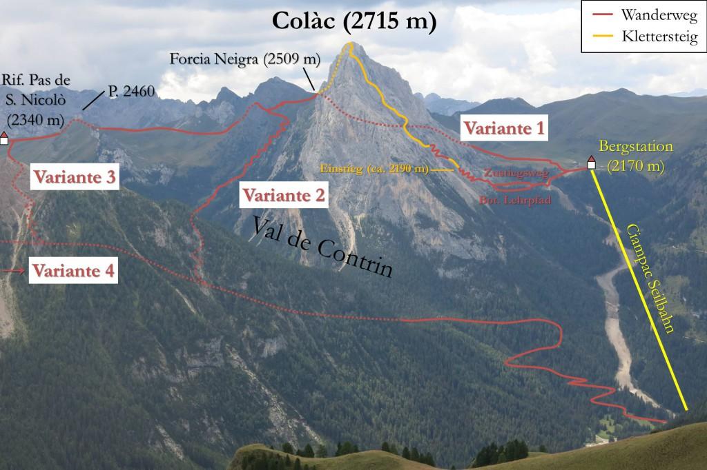 Finanzieri Klettersteig Abstiegsvarianten